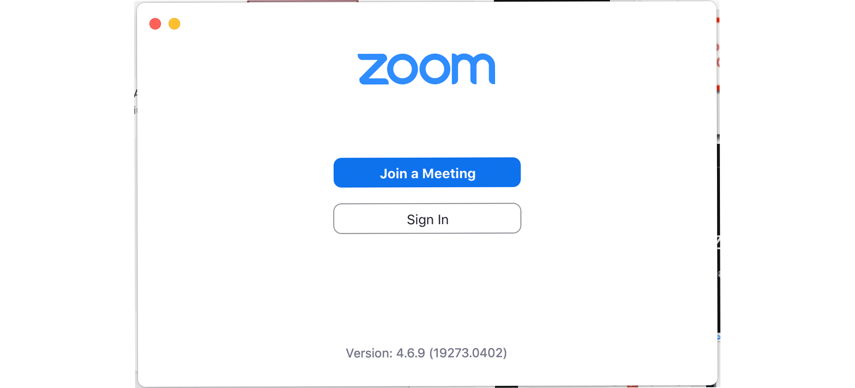 Screenshot of the Zoom sign in form.