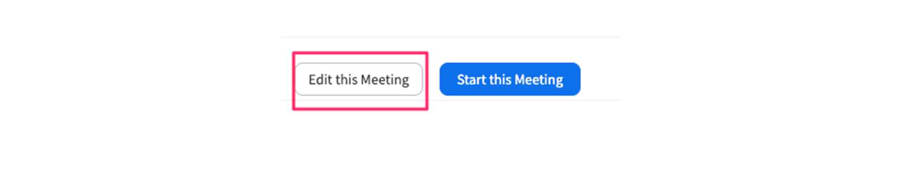 Screenshot of the Zoom interface where you can 'edit this meeting'.