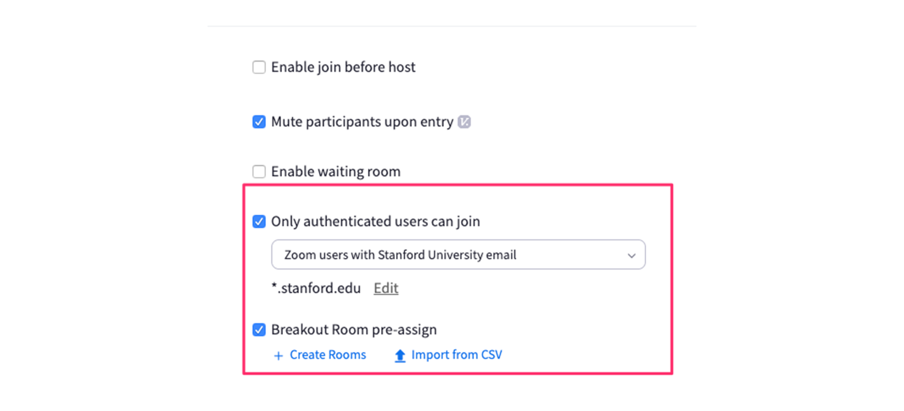 "Screenshot of the Zoom website with the options for 'Only Authenticated users can Join' and ""Breakout rooms pre-assign"" highlighted."