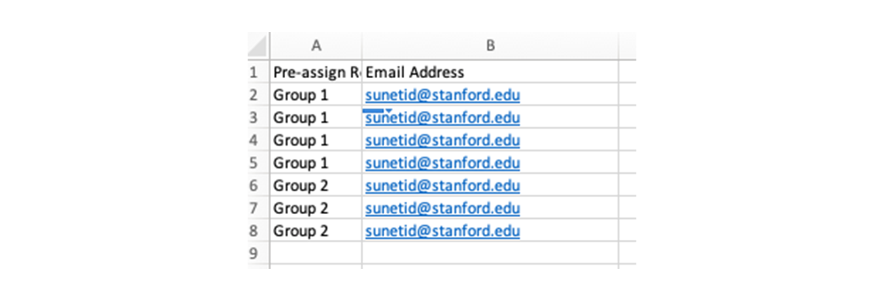 Screenshot of a CSV with rows for each user and columns listing the group and user email.