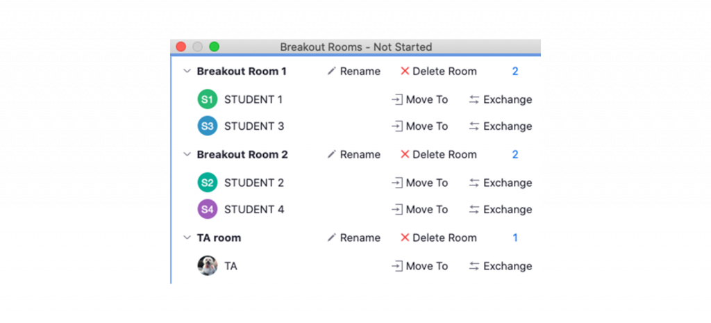 Screenshot of the Zoom interface showing breakout room configurations