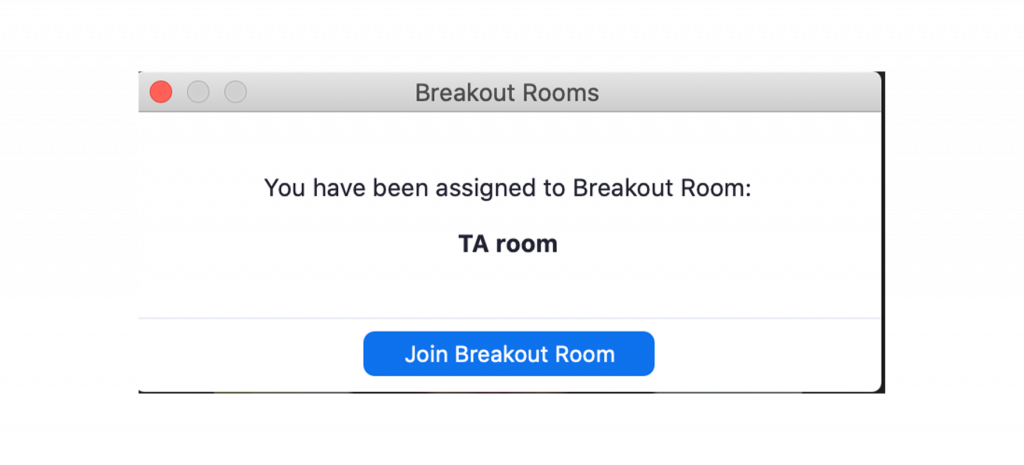 Screenshot of the Zoom interface alert telling a user they have been added to a breakout room.