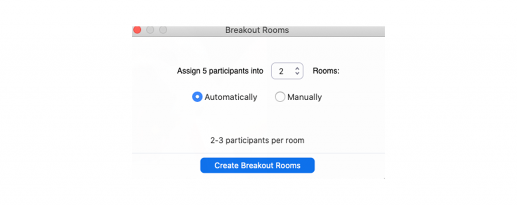 Screenshot of the Zoom interface showing the Breakout Rooms popup