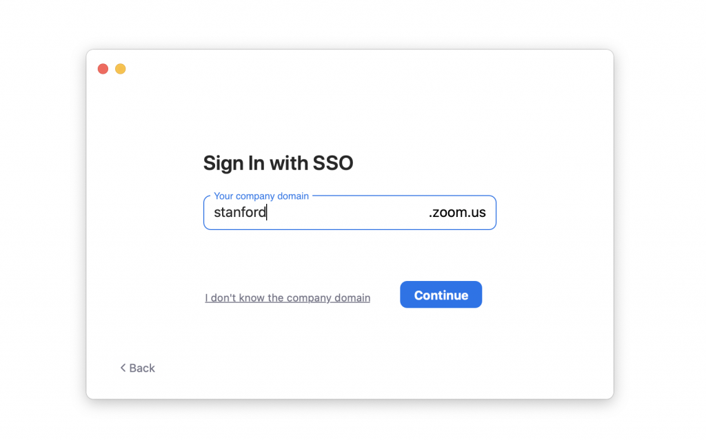 Screenshot of the Zoom sign in with SSO option, with 'stanford' filled in.
